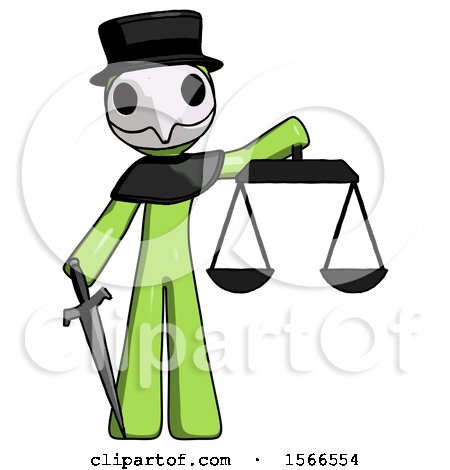 Green Plague Doctor Man Justice Concept with Scales and Sword, Justicia Derived by Leo Blanchette