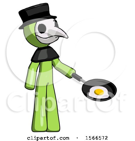 Green Plague Doctor Man Frying Egg in Pan or Wok Facing Right by Leo Blanchette