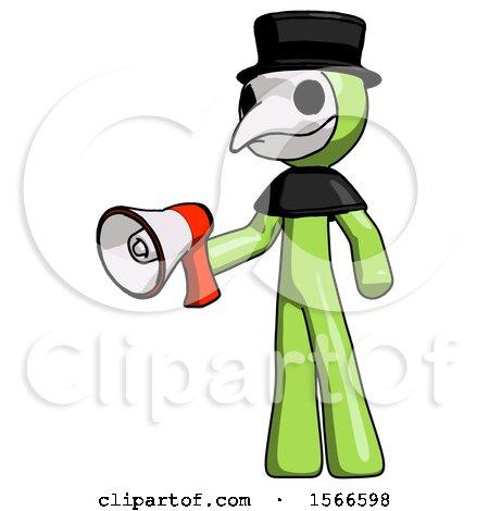 Green Plague Doctor Man Holding Megaphone Bullhorn Facing Right by Leo Blanchette