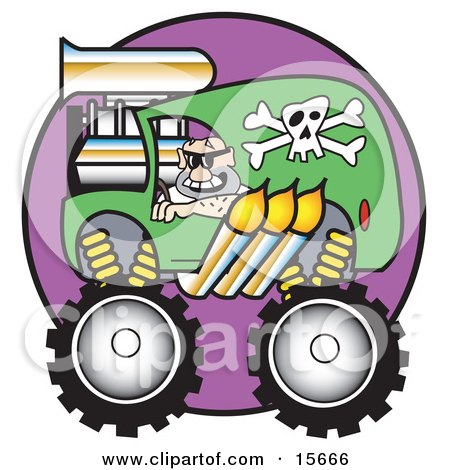 Man Driving A Big Green Monster Truck With A Skull And Crossbones Decal And Flames Coming Out Of The Muffler Clipart Illustration by Andy Nortnik