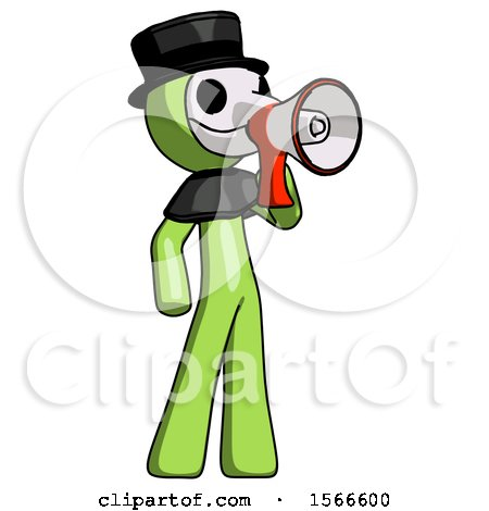 Green Plague Doctor Man Shouting into Megaphone Bullhorn Facing Right by Leo Blanchette
