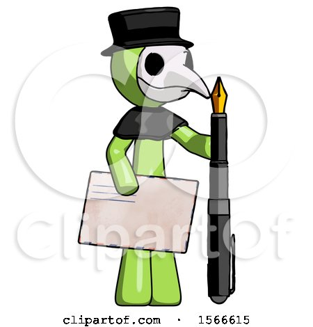 Green Plague Doctor Man Holding Large Envelope and Calligraphy Pen by Leo Blanchette