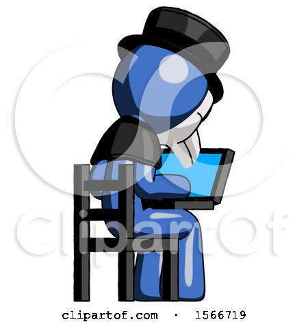 Blue Plague Doctor Man Using Laptop Computer While Sitting in Chair View from Back by Leo Blanchette