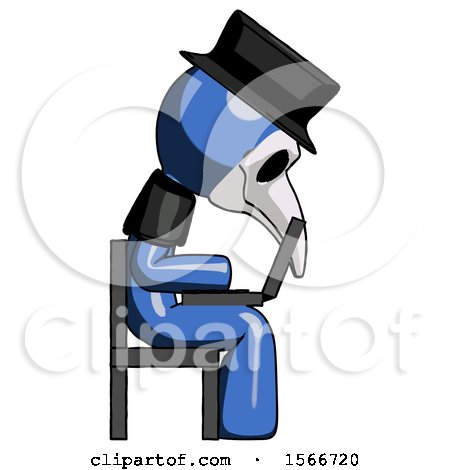 Blue Plague Doctor Man Using Laptop Computer While Sitting in Chair View from Side by Leo Blanchette