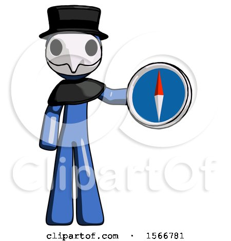 Blue Plague Doctor Man Holding a Large Compass by Leo Blanchette