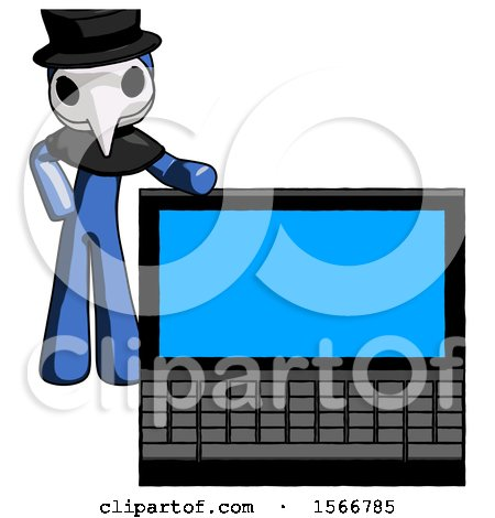 Blue Plague Doctor Man Beside Large Laptop Computer, Leaning Against It by Leo Blanchette