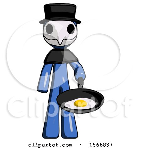 Blue Plague Doctor Man Frying Egg in Pan or Wok by Leo Blanchette