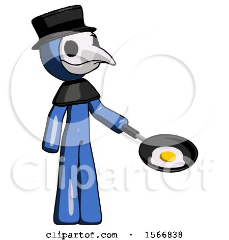 Blue Plague Doctor Man Frying Egg in Pan or Wok Facing Right by Leo Blanchette