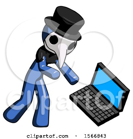 Blue Plague Doctor Man Throwing Laptop Computer in Frustration by Leo Blanchette