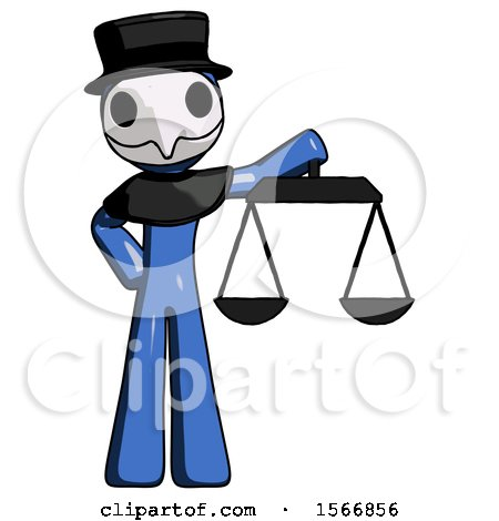 Blue Plague Doctor Man Holding Scales of Justice by Leo Blanchette