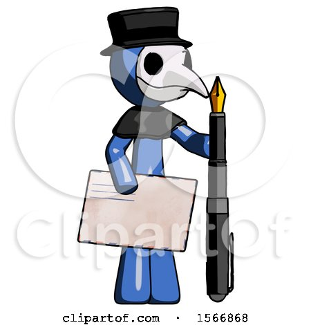 Blue Plague Doctor Man Holding Large Envelope and Calligraphy Pen by Leo Blanchette