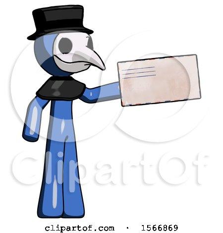 Blue Plague Doctor Man Holding Large Envelope by Leo Blanchette