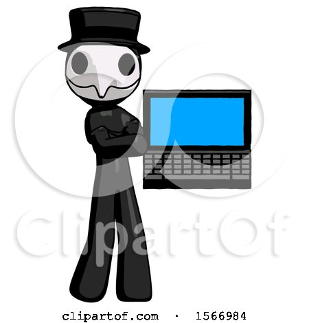 Black Plague Doctor Man Holding Laptop Computer Presenting Something on Screen by Leo Blanchette
