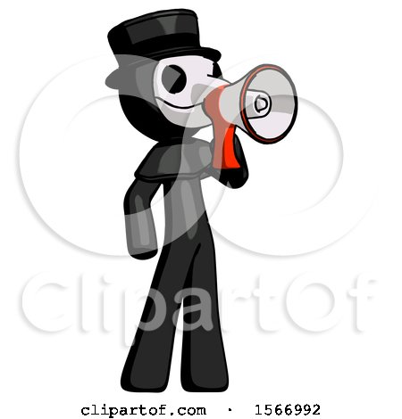 Black Plague Doctor Man Shouting into Megaphone Bullhorn Facing Right by Leo Blanchette
