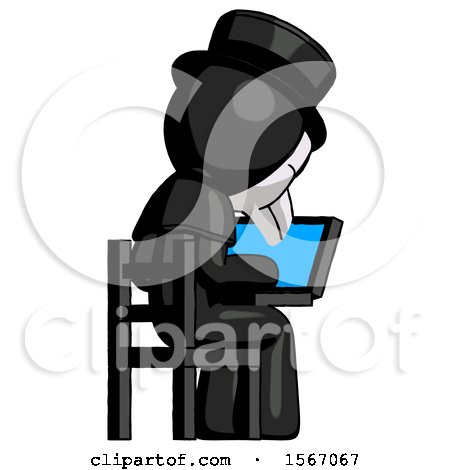 Black Plague Doctor Man Using Laptop Computer While Sitting in Chair View from Back by Leo Blanchette