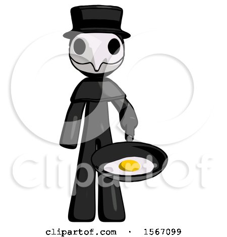 Black Plague Doctor Man Frying Egg in Pan or Wok by Leo Blanchette