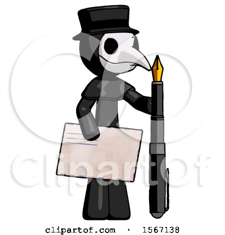 Black Plague Doctor Man Holding Large Envelope and Calligraphy Pen by Leo Blanchette