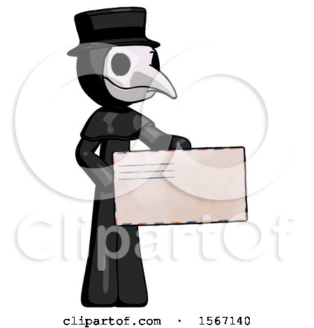 Black Plague Doctor Man Presenting Large Envelope by Leo Blanchette