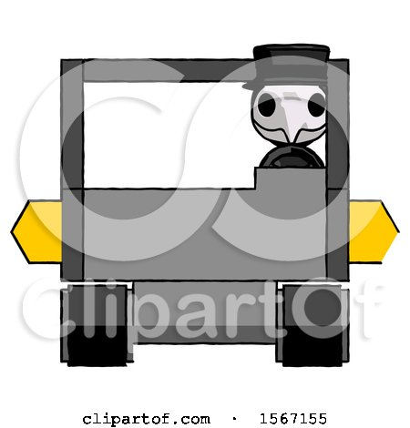 Black Plague Doctor Man Driving Amphibious Tracked Vehicle Front View by Leo Blanchette