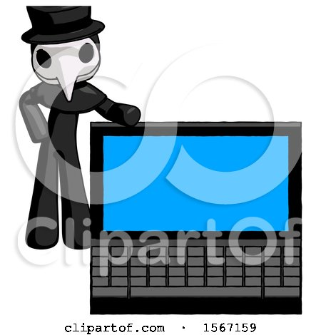 Black Plague Doctor Man Beside Large Laptop Computer, Leaning Against It by Leo Blanchette