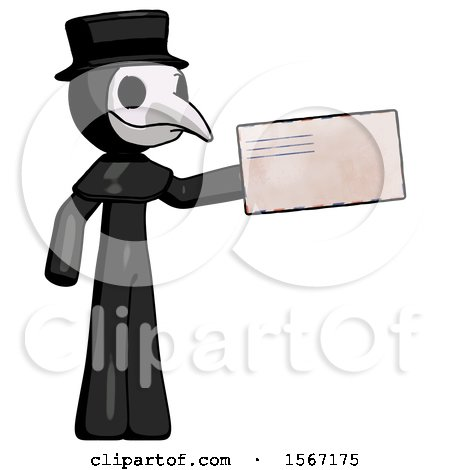 Black Plague Doctor Man Holding Large Envelope by Leo Blanchette