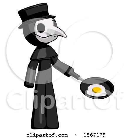 Black Plague Doctor Man Frying Egg in Pan or Wok Facing Right by Leo Blanchette