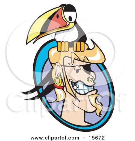 Blond Male Pirate With A Goatee, Shiny Teeth, Hoop Earring And Ring Through His Nose, Grinning As A Toucan Bird Sits On His Head Clipart Illustration by Andy Nortnik