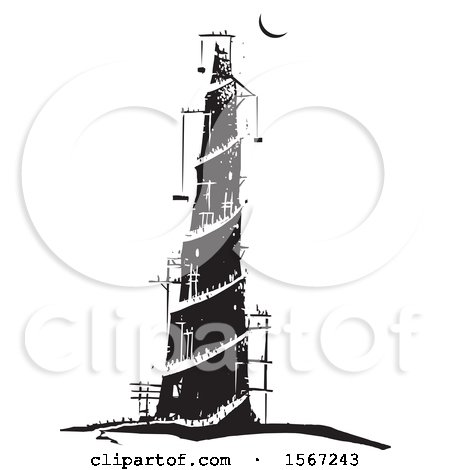 Clipart of a Crescent Moon over the Tower of Babel - Royalty Free Vector Illustration by xunantunich