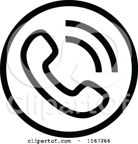 Clipart of a Black and White Phone Icon - Royalty Free Vector Illustration by dero