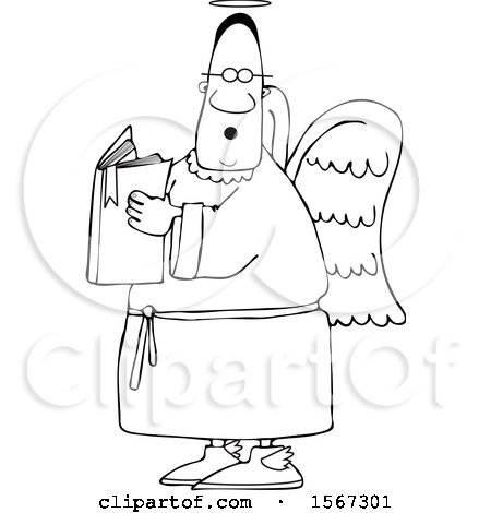 Clipart of a Lineart Black Male Angel Holding a Book - Royalty Free Vector Illustration by djart