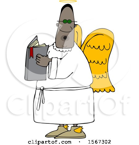 Clipart of a Black Male Angel Holding a Book - Royalty Free Vector Illustration by djart