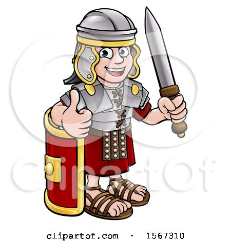 Clipart of a Cartoon Happy Roman Soldier Giving a Thumb Up, Holding a Sword and Leaning on a Shield - Royalty Free Vector Illustration by AtStockIllustration