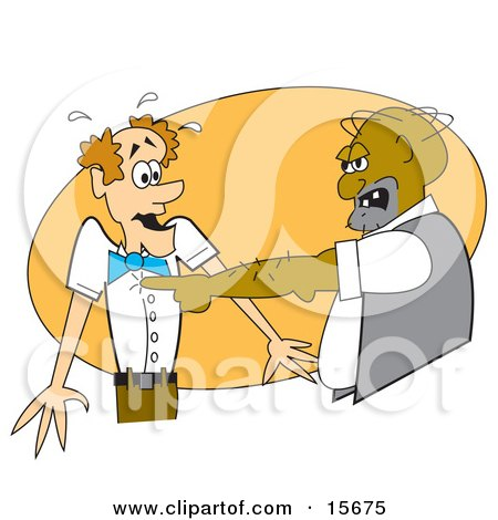 Big Man Screaming At A Scared Scrawny Man Clipart Illustration by Andy Nortnik