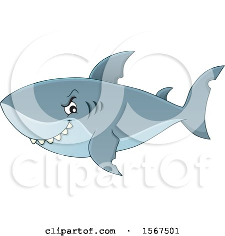 Clipart of a Grinning Shark - Royalty Free Vector Illustration by visekart