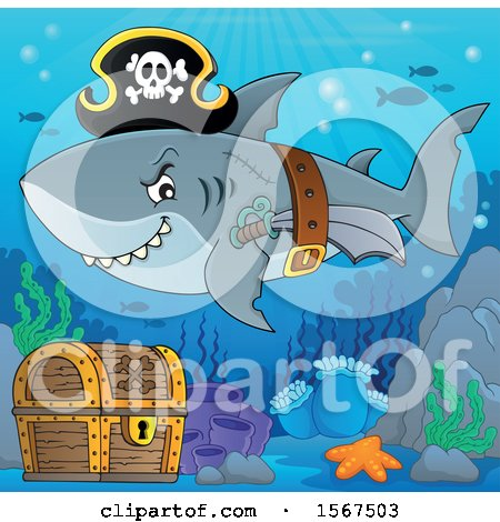 Clipart of a Pirate Shark Wearing a Hat, Belt and Sword over a Treasure Chest - Royalty Free Vector Illustration by visekart