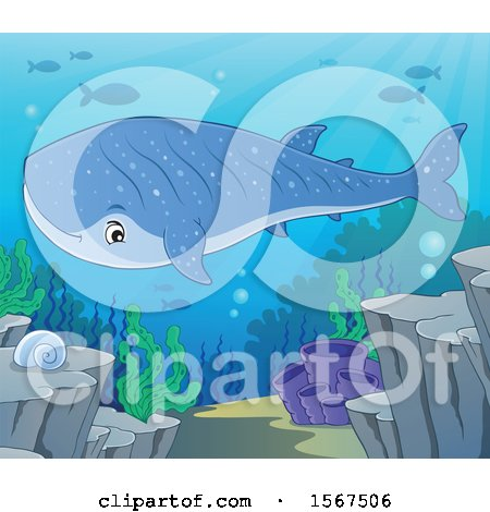 Clipart of a Swimming Whale Shark - Royalty Free Vector Illustration by visekart