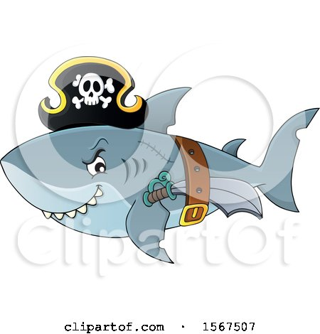 Clipart of a Pirate Shark Wearing a Hat, Belt and Sword - Royalty Free Vector Illustration by visekart