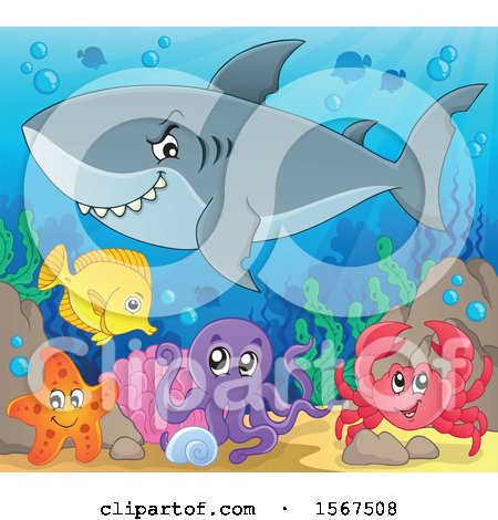 Clipart of a Grinning Shark over Other Sea Creatures - Royalty Free Vector Illustration by visekart