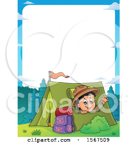 Clipart of a Border of a Scout Boy Camping and Waving from a Tent - Royalty Free Vector Illustration by visekart