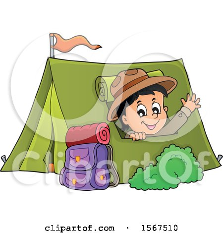 Scout Boy Camping and Waving from a Tent Posters, Art Prints