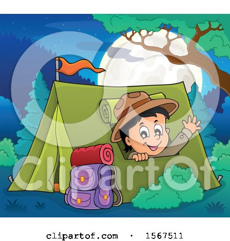 Clipart of a Scout Boy Camping and Waving from a Tent - Royalty Free Vector Illustration by visekart