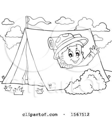 Clipart of a Lineart Scout Boy Camping and Waving from a Tent - Royalty Free Vector Illustration by visekart