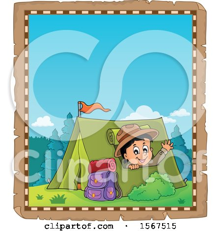 Clipart of a Parchment Border of a Scout Boy Camping and Waving from a Tent - Royalty Free Vector Illustration by visekart