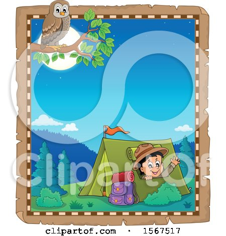 Clipart of a Parchment Border of an Owl and Scout Boy Camping and Waving from a Tent - Royalty Free Vector Illustration by visekart
