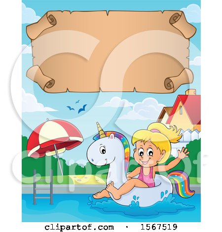 Clipart of a Girl Floating on a Unicorn Swim Toy - Royalty Free Vector Illustration by visekart