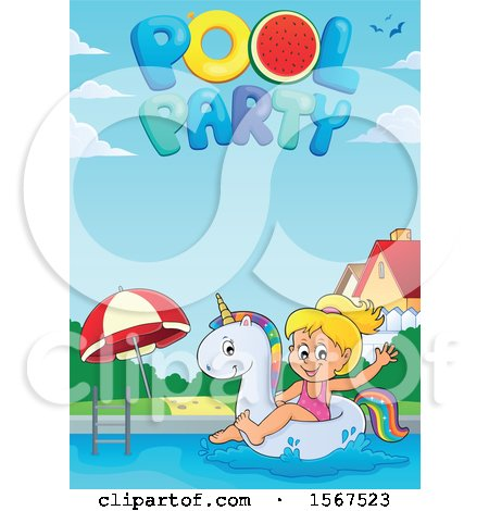 Clipart of a Girl Floating on a Unicorn Swim Toy, with Pool Party Text - Royalty Free Vector Illustration by visekart