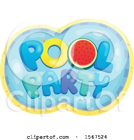 Clipart of a Summer Time Pool Party Design - Royalty Free Vector Illustration by visekart