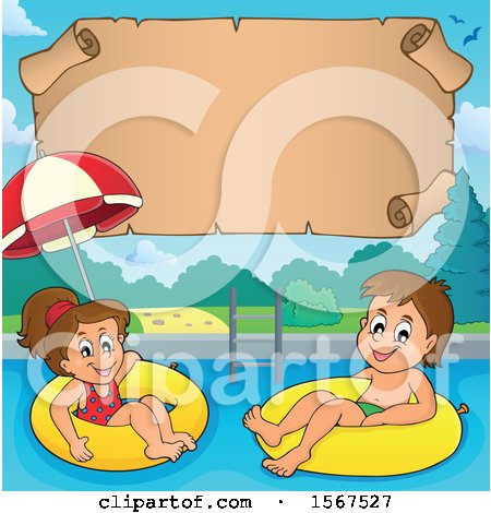 Clipart of a Boy and Girl Floating on Inner Tubes - Royalty Free Vector Illustration by visekart