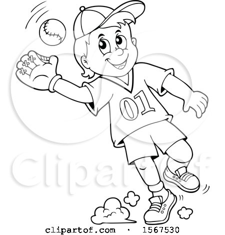 Clipart Of A Lineart Boy Catching A Baseball Royalty Free