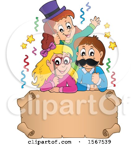 Clipart of a Group of Children with Photo Props at a Party over a Scroll - Royalty Free Vector Illustration by visekart